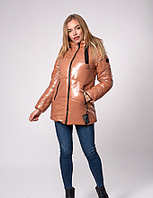 Зимняя короткая куртка цвет  бежевый