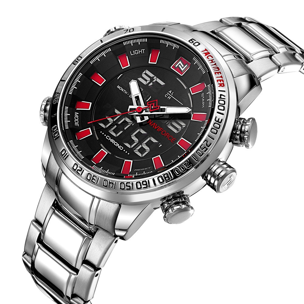 Мужские часы Naviforce 9093 (silver-black-red)