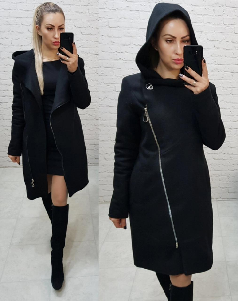 Зимнее кашемировое пальто, утепленное!!! Черное, арт. 136