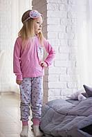 Детская пижама для девочки с розовым фламинго(шорты+штаны+футболка на длинный рукав  и маска для сна)