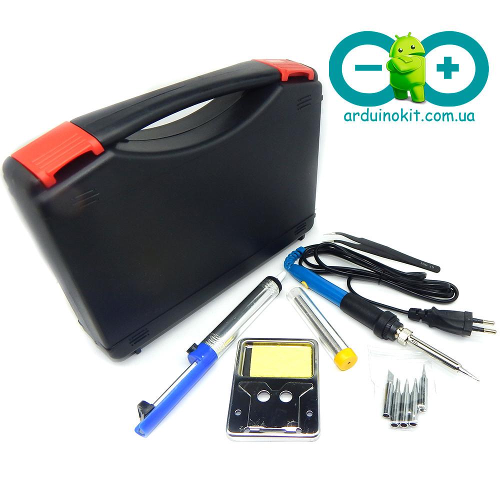 Регулируемый паяльник электрический 60 Вт + отсос для припоя + пинцет + олово + кейс