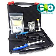 Регулируемый паяльник электрический 60 Вт + отсос для припоя + пинцет + олово + кейс, фото 3