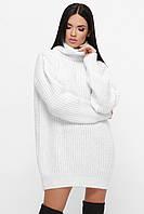 Белый вязаный женский свободный свитер-туника, фото 1