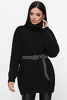 Черный женский оверсайз свитер-туника, фото 1