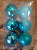Елочные игрушки шары - в наборе 6шт, диаметр 6см, пластик