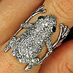Серебряное кольцо Лягушка - Стильное кольцо Жабка из родированного серебра, фото 2