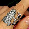 Серебряное кольцо Лягушка - Стильное кольцо Жабка из родированного серебра, фото 10