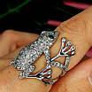 Серебряное кольцо Лягушка - Стильное кольцо Жабка из родированного серебра, фото 4