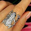 Серебряное кольцо Лягушка - Стильное кольцо Жабка из родированного серебра, фото 9