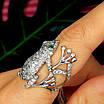 Серебряное кольцо Лягушка - Стильное кольцо Жабка из родированного серебра, фото 3