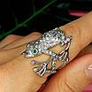 Серебряное кольцо Лягушка - Стильное кольцо Жабка из родированного серебра, фото 8