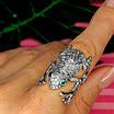 Серебряное кольцо Лягушка - Стильное кольцо Жабка из родированного серебра, фото 7