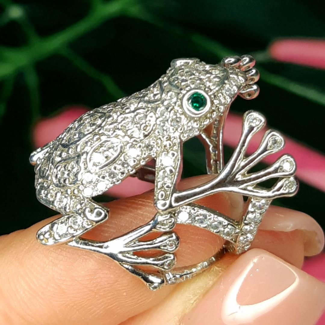 Серебряное кольцо Лягушка - Стильное кольцо Жабка из родированного серебра