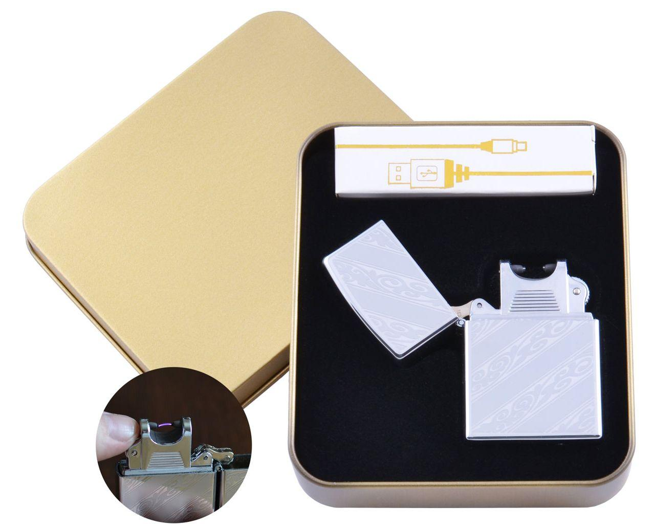 Электроимпульсная зажигалка в подарочной упаковке Абстракция (Двойная молния, USB) №HL-63-3