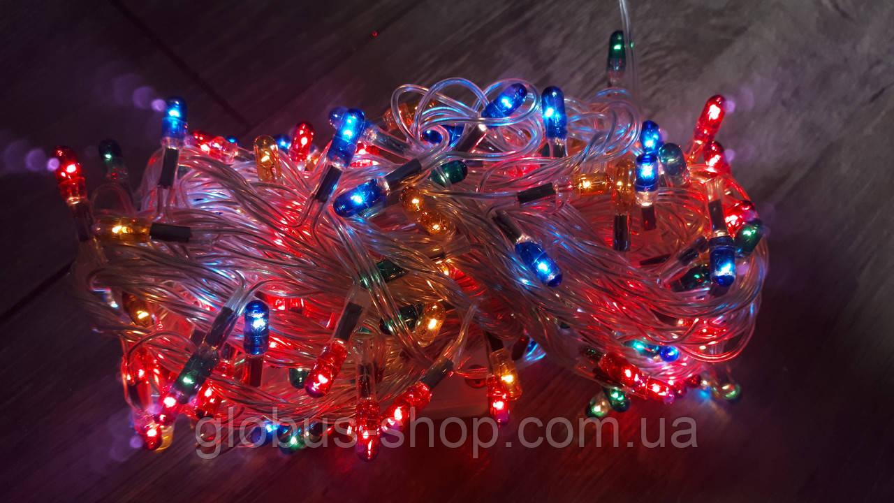Гирлянда ламповая, 160 ламп, прозрачный, разноцветная