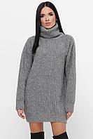 Стильный серый женский оверсайз свитер-туника, фото 1