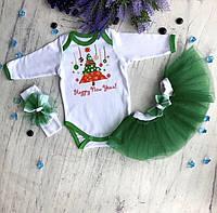 Комплект детский новогодний для девочки Елочка на 68,74см.