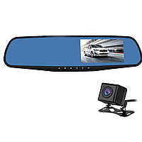 """✸Зеркало видеорегистратор 4.3"""" Lesko Car H433 ver.1 Vehicle Black Box dvr с камерой заднего вида для авто"""