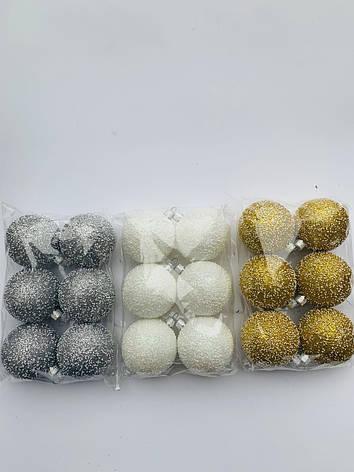 Елочные шары. Новогодние шары золото(6 шт), фото 2