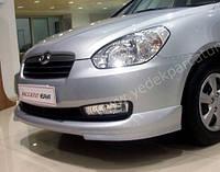 Hyundai Accent 2006-2010 гг. Передняя нижняя юбка (под покраску)
