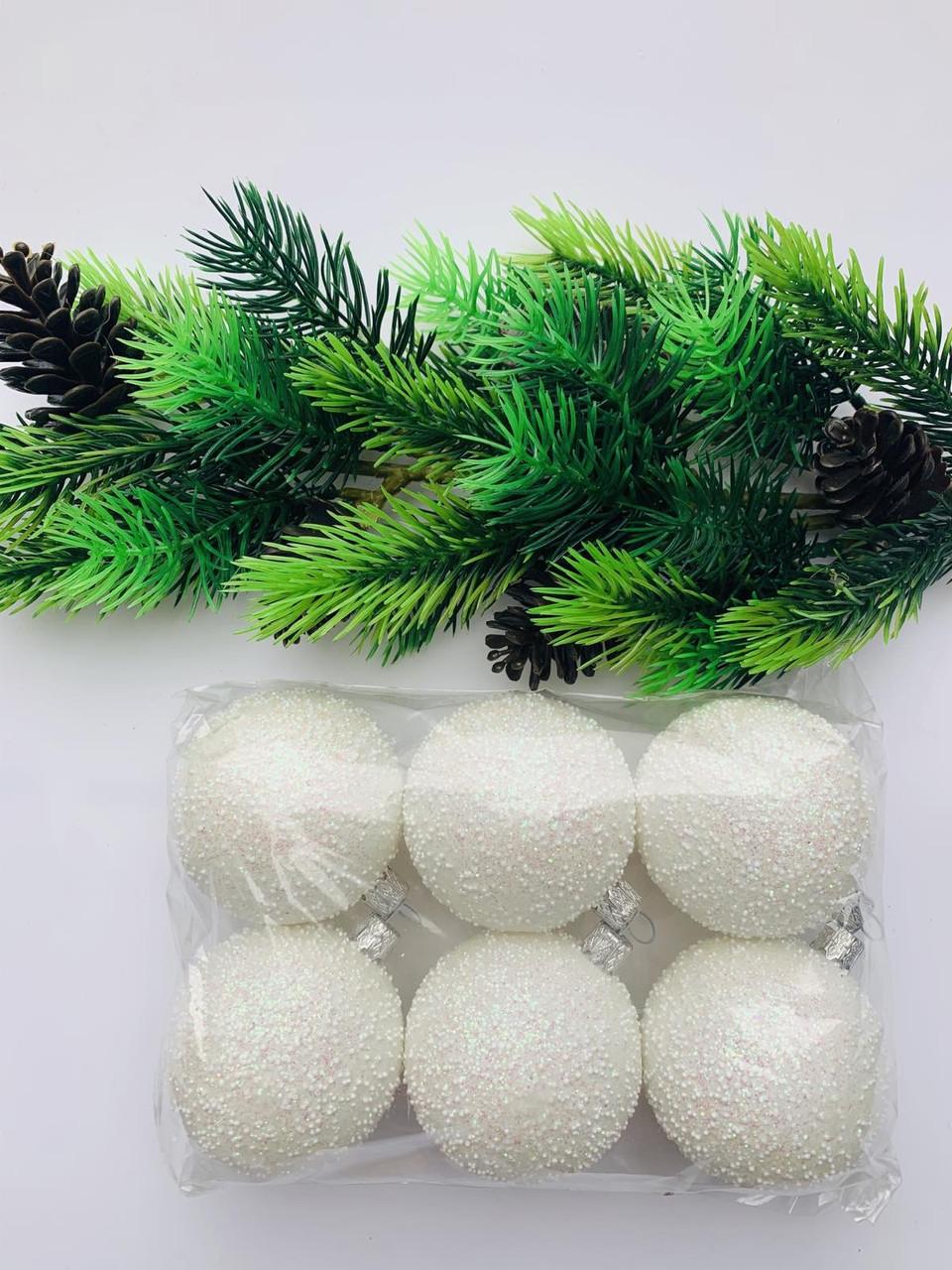 Елочные игрушки.Шары новогодние, белые(6 шт)