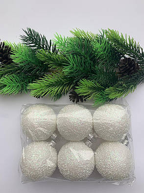 Елочные игрушки.Шары новогодние, белые(6 шт), фото 2