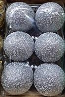 """Елочная игрушка """"Шар однотонный с блестками и снежком"""" (диаметр 10 см, упаковка 6 шт, цвета в ассортименте)"""