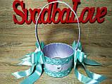 Свадебная корзинка для лепестков роз Wedding мятная, фото 3
