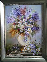 Картины художников. Живопись маслом на холсте. «Цветы в вазе колокольчики и ромашки»