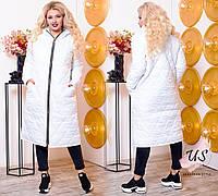 Женское  батальное длинное стеганое пальто. 2 цвета!