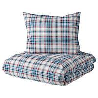 IKEA, MOSSRUTA, КОМПЛЕКТ постельного белья, синий, клетчатый, 150x200 / 50x60 см, (004.435.78)
