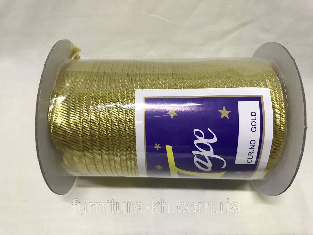 Косая бейка парча 1,5 см 90 метров цвет  золото