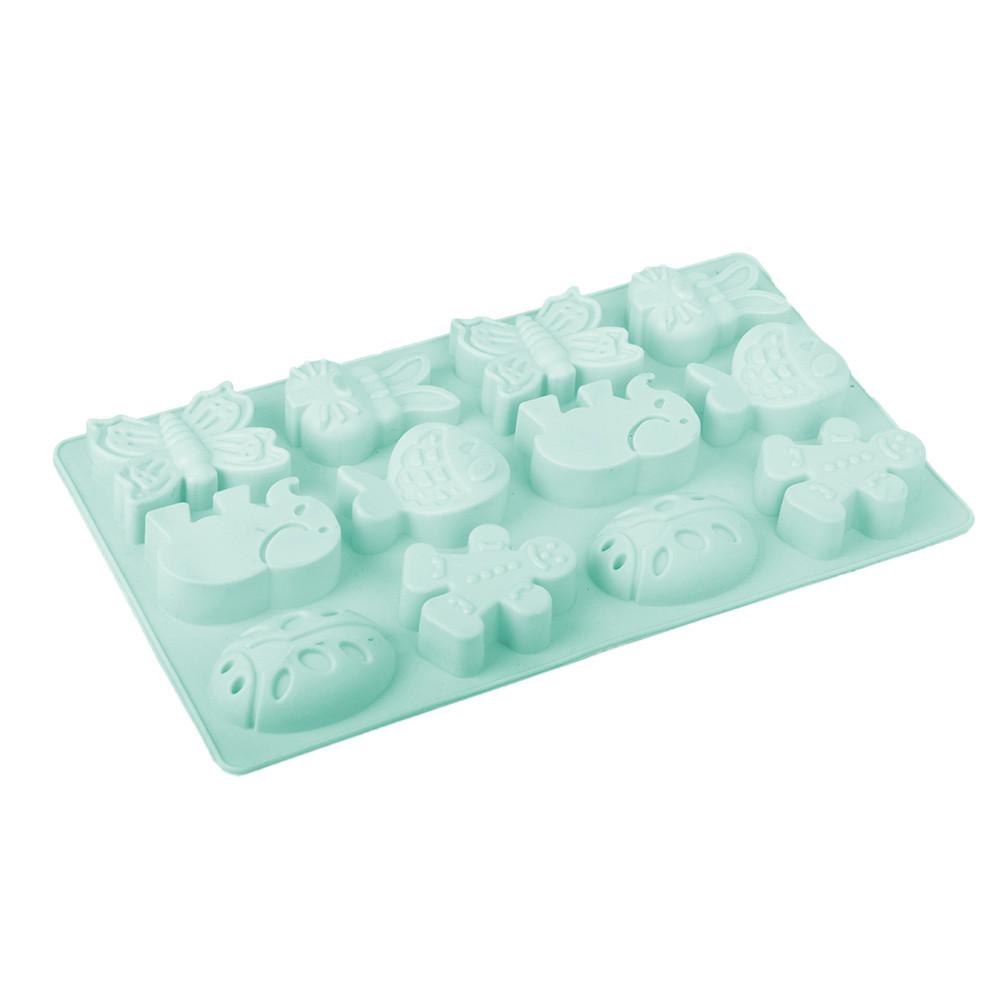 Форма силиконовая для выпечки кексов Звери, 12 ячеек, 19,5х34х4см
