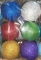 """Елочная игрушка """"Шар цветной с блестками"""" (диаметр 8 см, упаковка 6 шт)"""