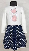 Нарядное детское платье для девочки р.104 -116 белое+синее в горошек