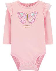 Нарядный боди на длинный рукав  для девочки Carter's, розовый с бабочкой