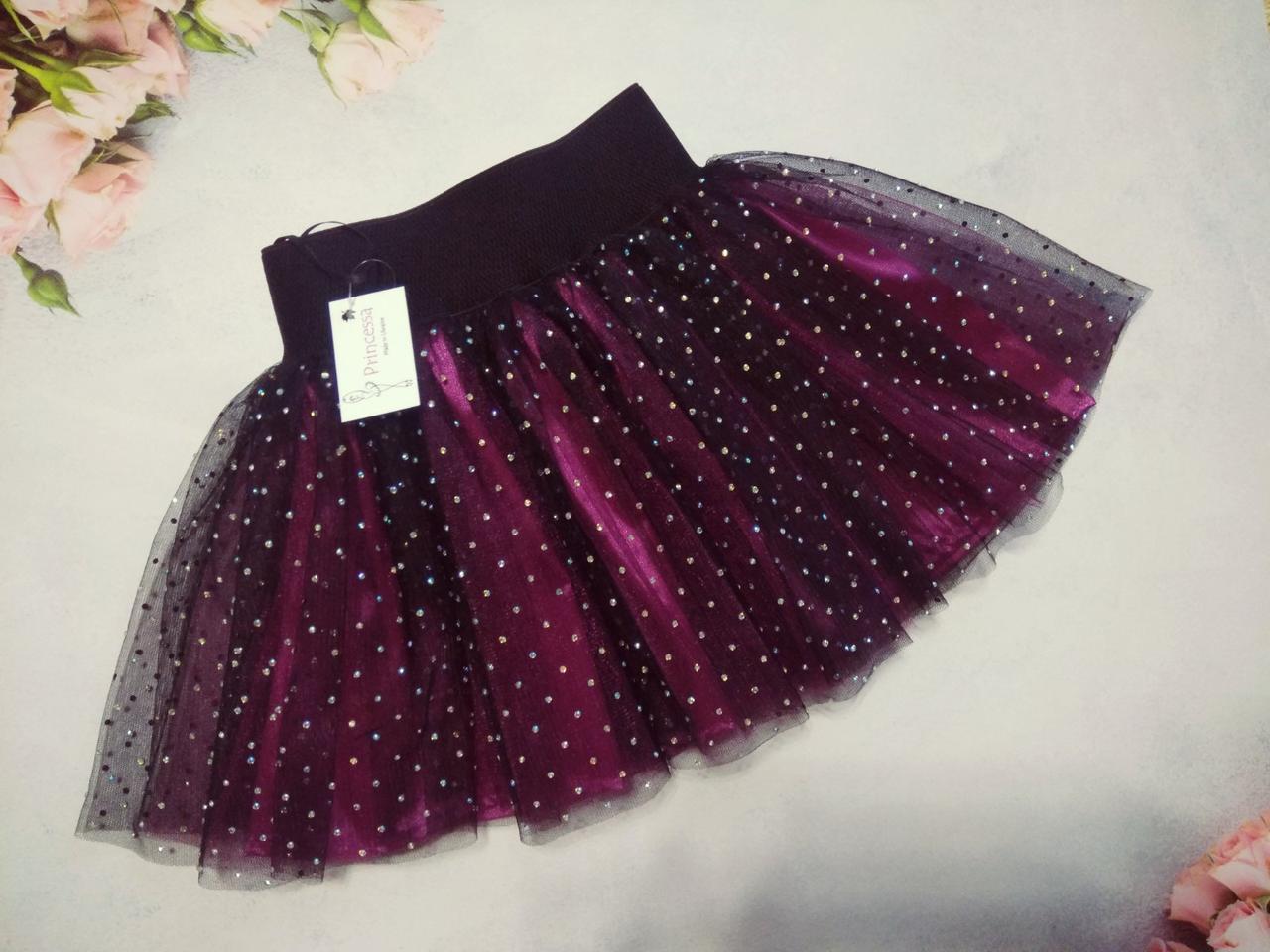 Детская нарядная двухцветная юбка с камнями, с атласным подкладом. Пошив в любом цвете