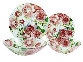 Обідній сервіз скло Lumines 19 предметів Рожева троянда (Q078)