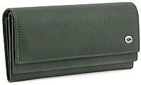 Зеленый женский кожаный кошелеr на кнопке ST