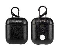 Чехол для наушников Apple AirPods - Оригинальный кожаный черный кейс футляр для наушников