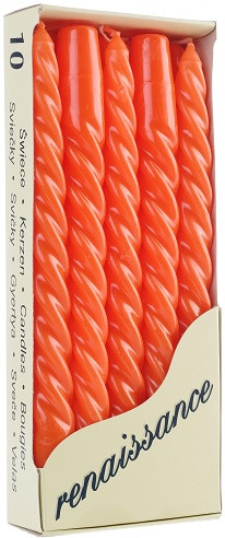 Свеча витая оранжевая Bispol 24.5 см 10 шт (20-020)