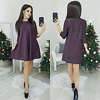 Женское нарядное люрексовое платье норма и батал цвет бордо.
