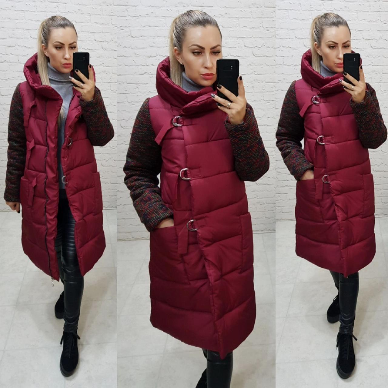 Новинка! Стильне тепле пальто пуховик на змійці і утепленим рукавом, арт 181, колір бордо