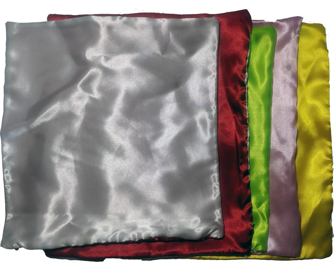 Подушка сублимационная атласная с цветной стороной 35х35 САЛАТОВАЯ