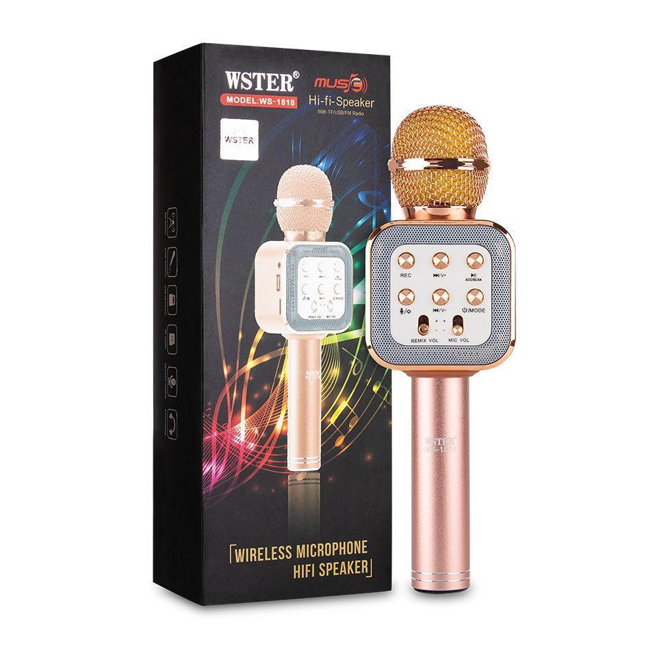 Беспроводной Караоке Микрофон с динамиком WS-1818 розовый
