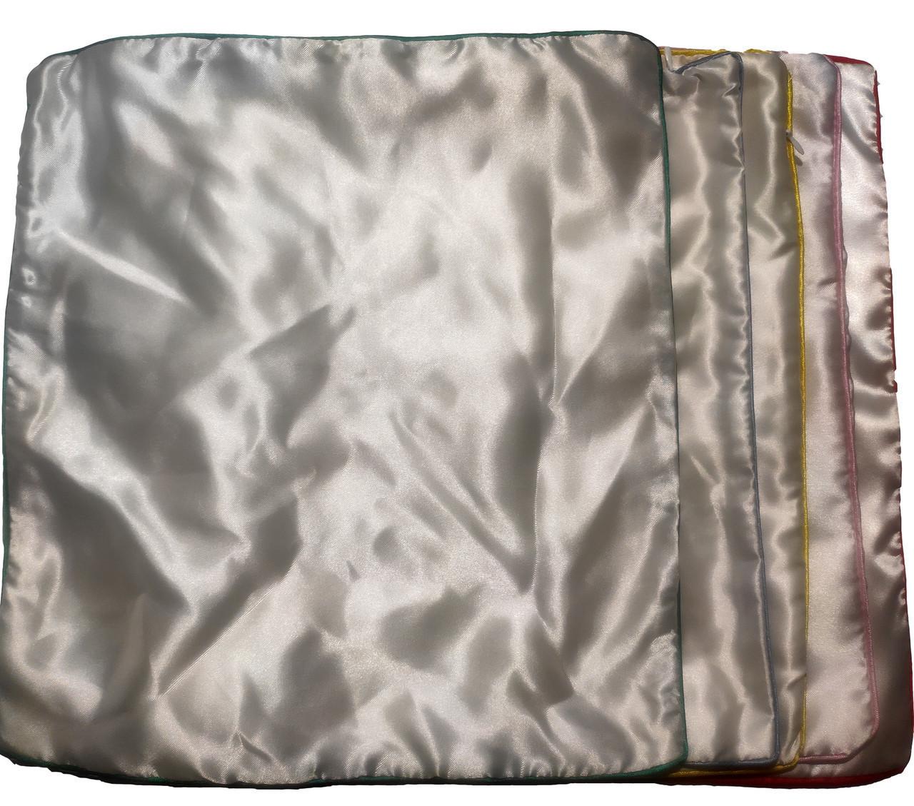 Подушка сублимационная атласная цветная с КАНТОМ 35х35 ГОЛУБОЙ