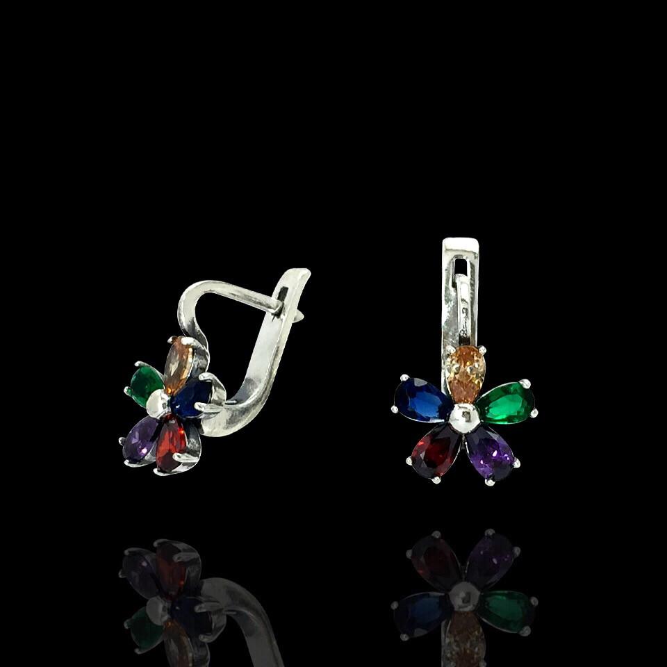 Серьги Цветочек с разноцветными фианитами