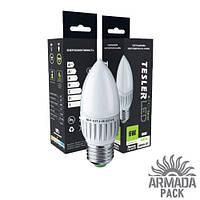 Светодиодная лампа TESLER 6W цоколь Е27 470 LM свечка