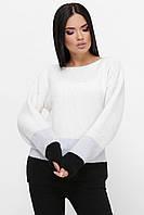 Женский белый свитер с контастными вставками, фото 1