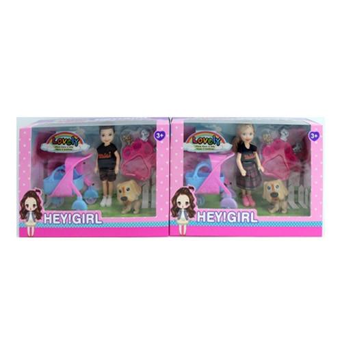 Кукла, коляска, собачка, 2 вида (мальчик, девочка), LY212-A
